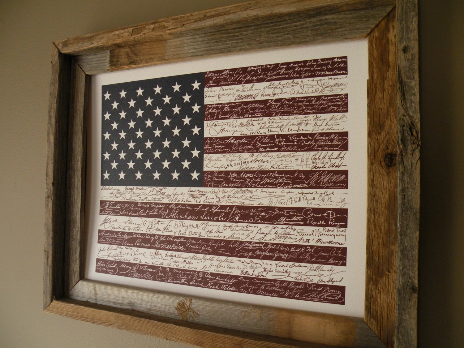 Signatures Of American History Usa Flag Print By