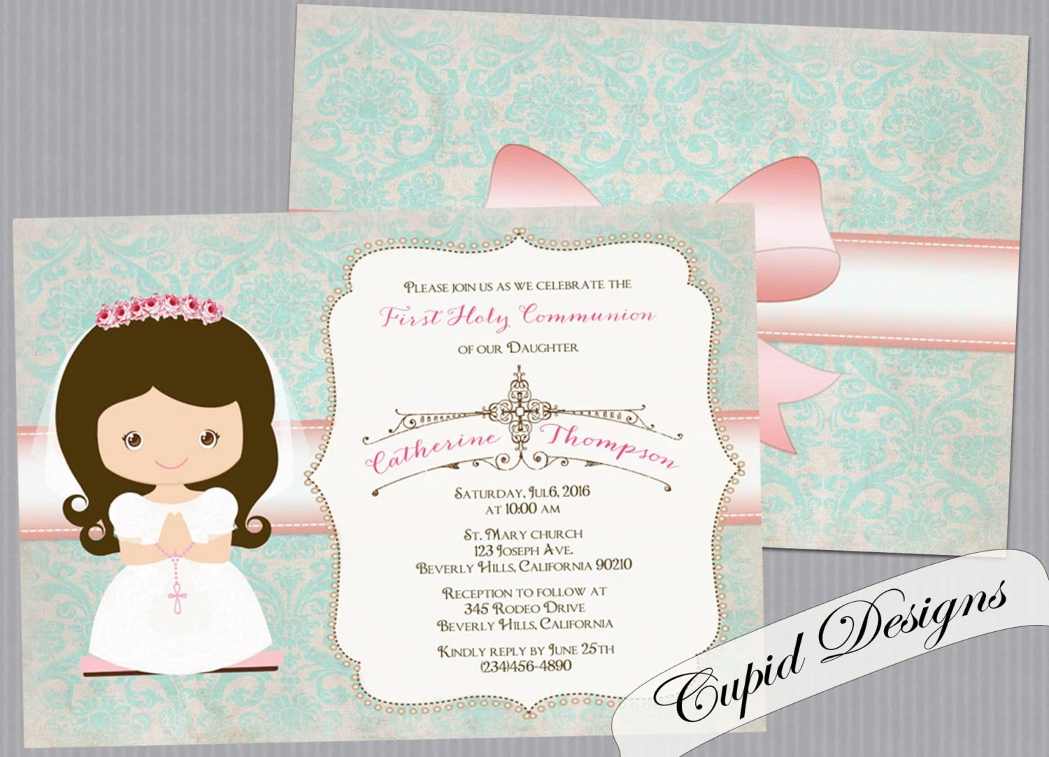 Girl First Communion Invitation Invitation For First Holy