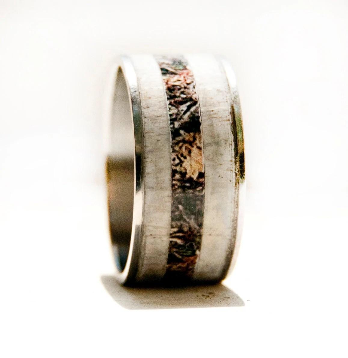 Mens Wedding Band Elk Antler Amp Camo Ring By StagHeadDesigns