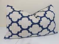Navy Blue Lumbar Pillow cover Robert Allen quaterfoil