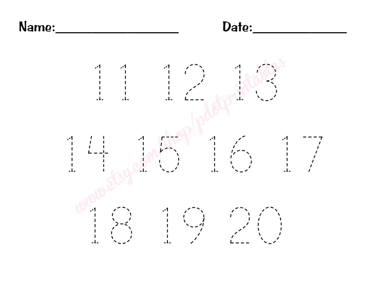 11 20 Number Trace Worksheet Printable By Pdotprintables