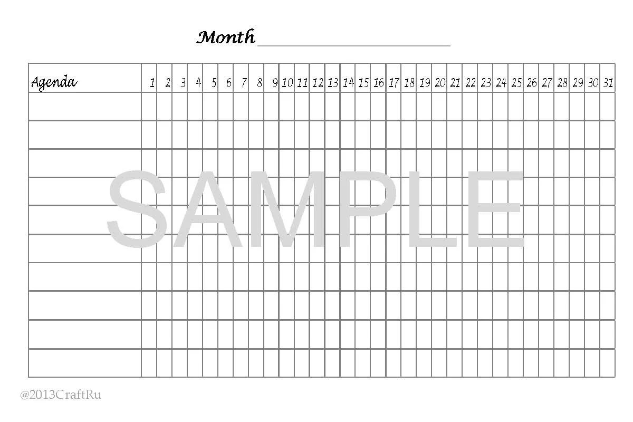 Digitale Printable Goal tracker PDF. Size 4x6 by CraftRu