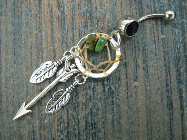 Arrow Dreamcatcher Belly Ring Turquoise Feathers In Tribal