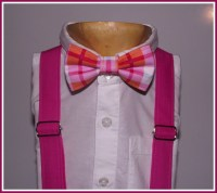 Pink Bow Tie and Suspenders: Plaid Bow Tie Pink by TheBoytique