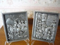Vintage Marcus Designs Chalkware Plaster Relief Wall Plaques
