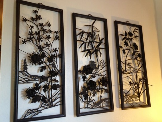Mid Century Asian Metal Wall Art