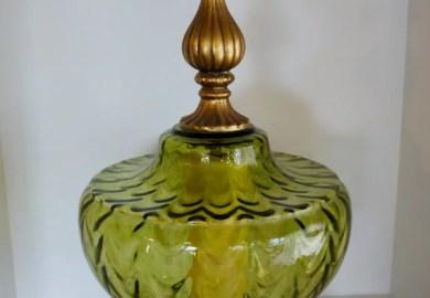 Vintage Green Glass Lamp