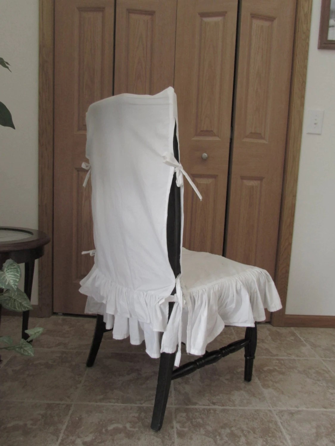 ruffle chair sashes bedroom and stool sale white cover seat by