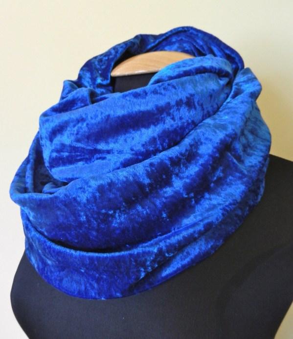 Royal Blue Crushed Velvet Infinity Scarf Loop by