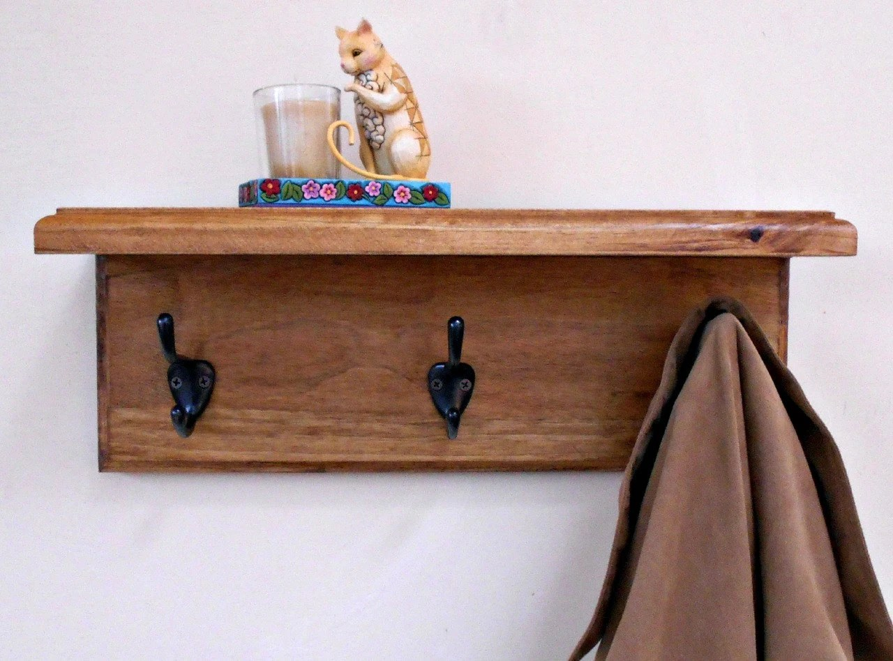 Wall Coat Rack Shelf Wood Coat Rackstained Shelf With Hooks