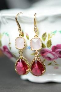 Items similar to Crystal Earrings, Pink Earrings, Gold