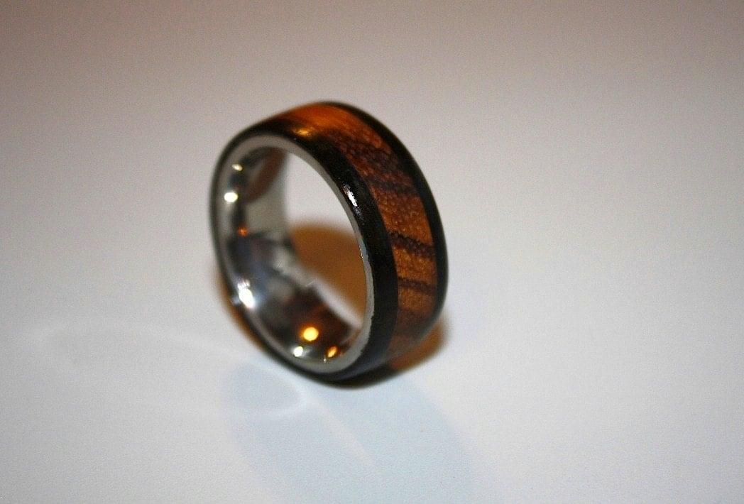 Mens Wedding Band Wood Wedding Band Titanium Wood Ring