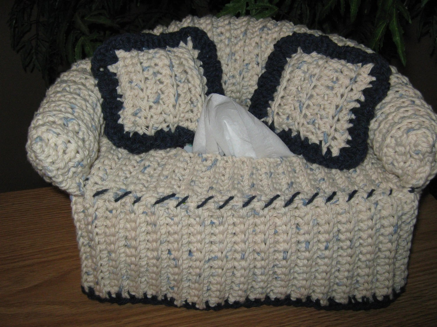 crochet sofa arm covers back of height couch tissue box cover with accent color on edges