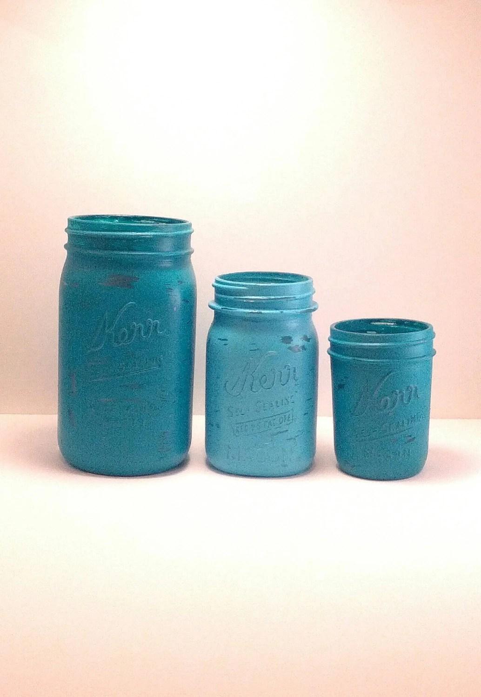 Teal. Blue, Aqua, Tiffany Blue - Home Decor - Wedding Decor - Vase - Painted Mason Jars - Office Decor - Kitchen Decor - Bathroom Decoration - Lavenderandash