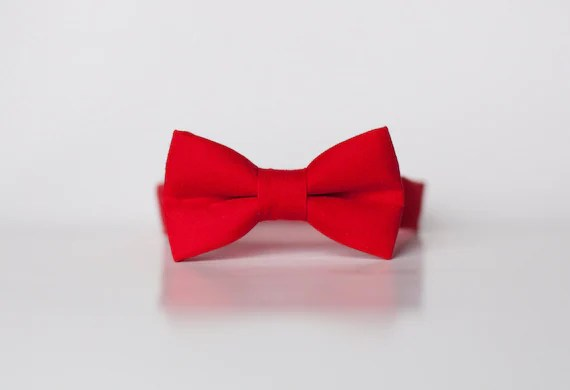 Little Boy red Bowtie solid Red tie Boys Bow by LacoHandMade