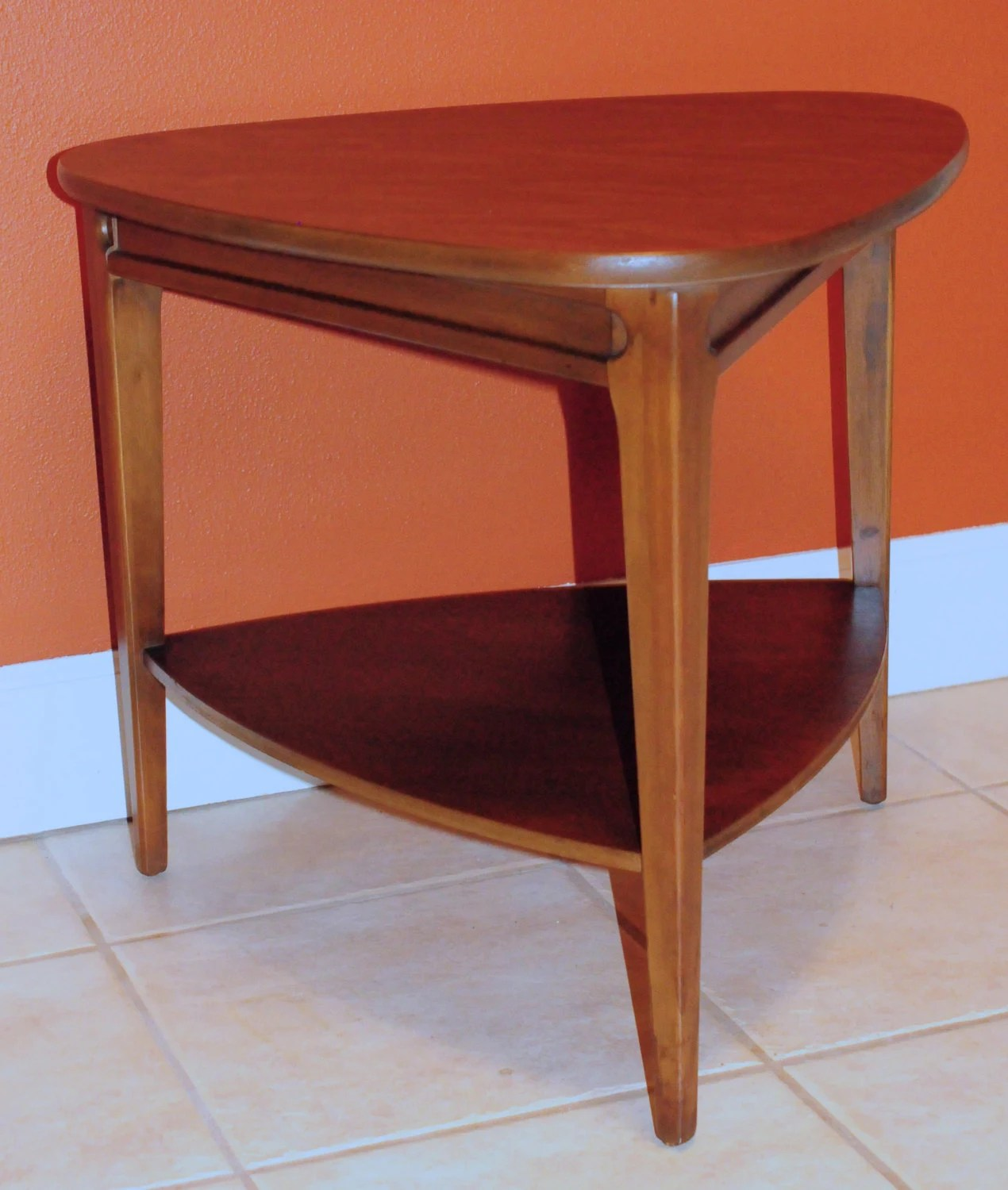 guitar shaped chair matrix fishing review beautiful mid century triangle end table by mersman.