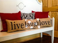 Stenciled Burlap Pillow Live Laugh & Love Pillows Home