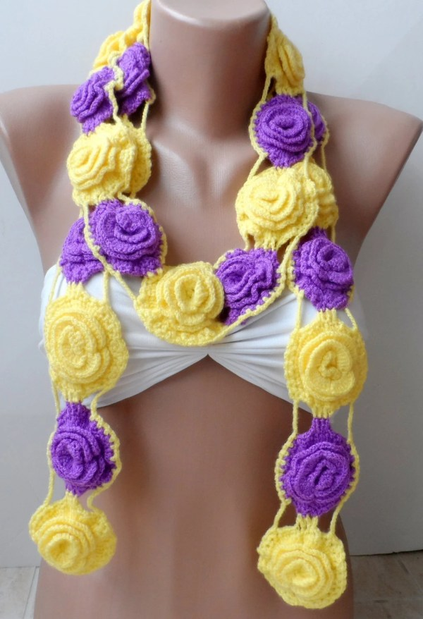 Big Roses Crochet Scarf Valentines Necklace