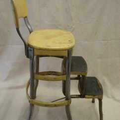 Chair Step Stool Parsons Dining Room Covers Vintage Metal Yellow Folding Costco Fold Out