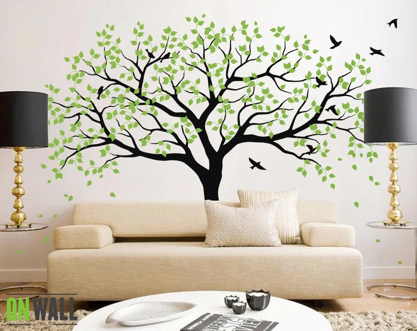 living room wall stencils uk design ideas with brown sofa large tree decals trees decal nursery