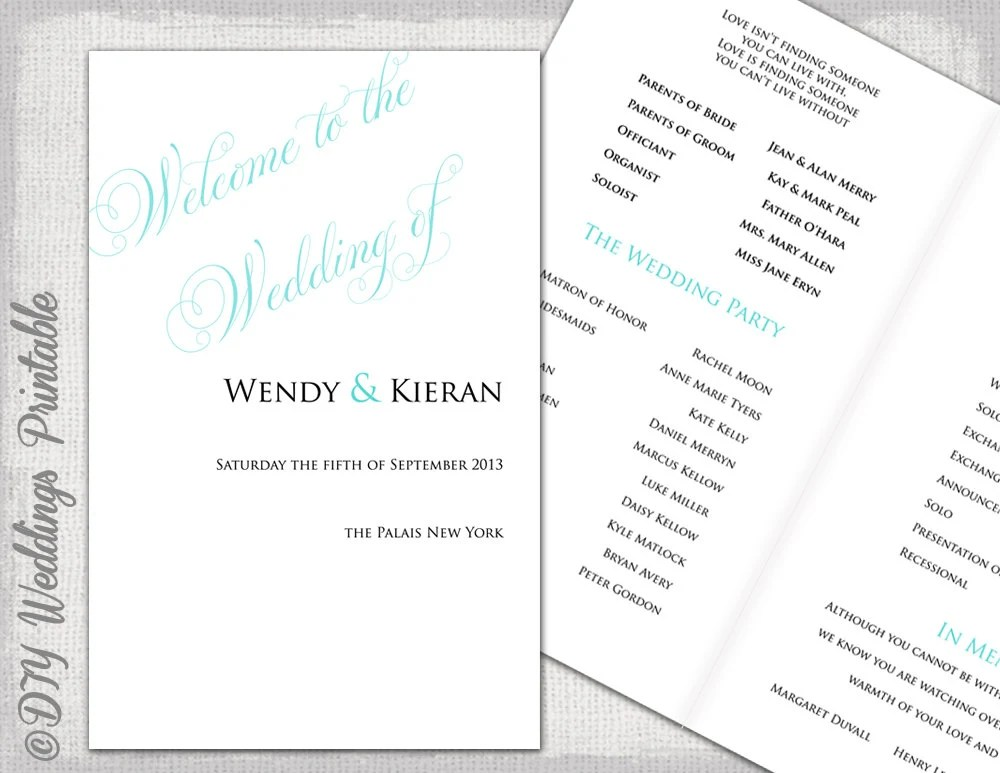 Wedding program templates Ocean blue DIY order of ceremony