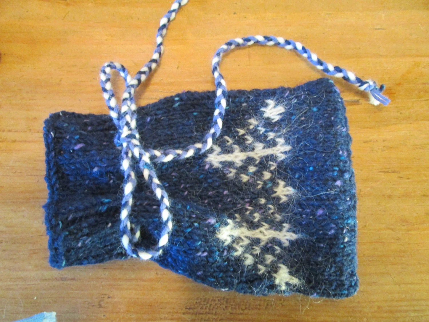 Hand knit blue tweed wool drawstring bag with tree pattern