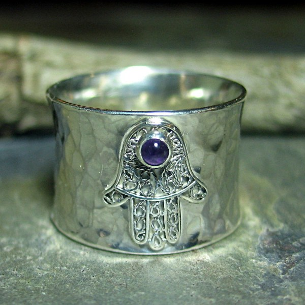 Hamsa Ring Yoga Jewelry Amethyst Sterling Silver Wide Band