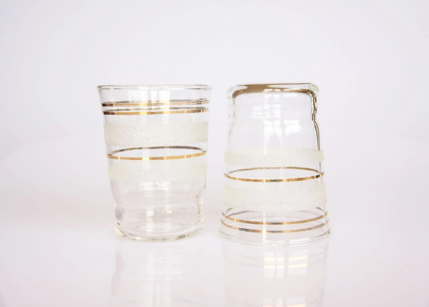 Gold rimmed etched drinking glasses 1950s barware by