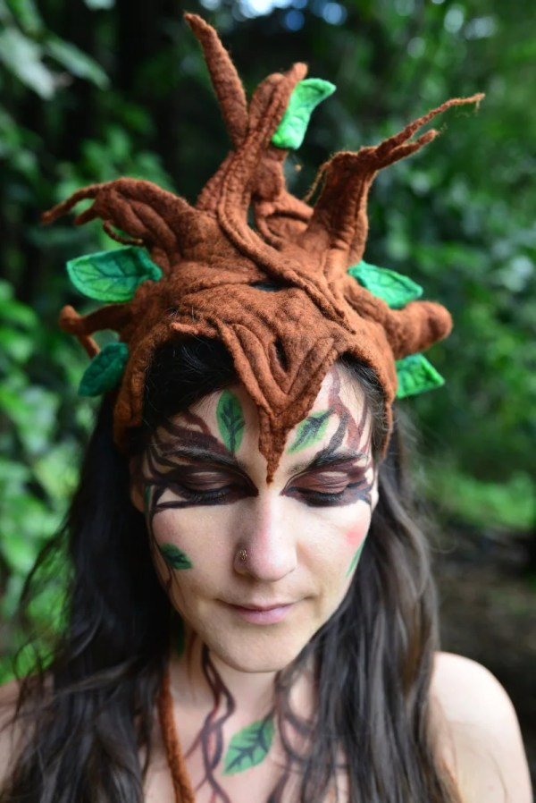 Felt Melted Tree Goddess Wood Nymph Forest Pixie Queen Leaves