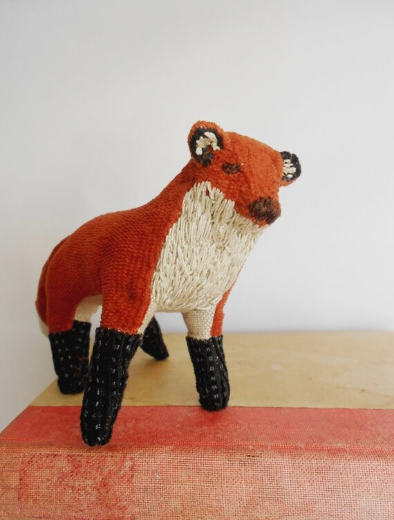Fox / soft sculpture / figurine / textile art / stuffed animal / upcycled fabric