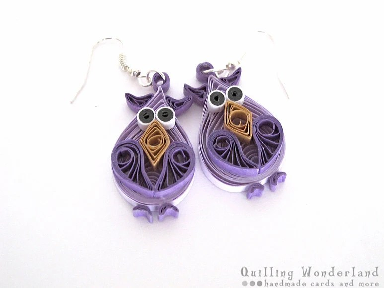 Purple Owl dangle quilling earrings, animal motif, purple shades, gift for her under 25