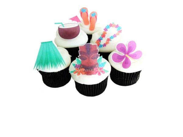 Luau Hawaiian Party Edible Cupcake Toppers