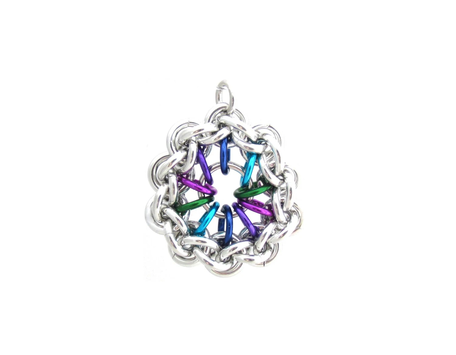 Jump Ring Pendant Chain Maille Jewelry Multicolor Jewelry