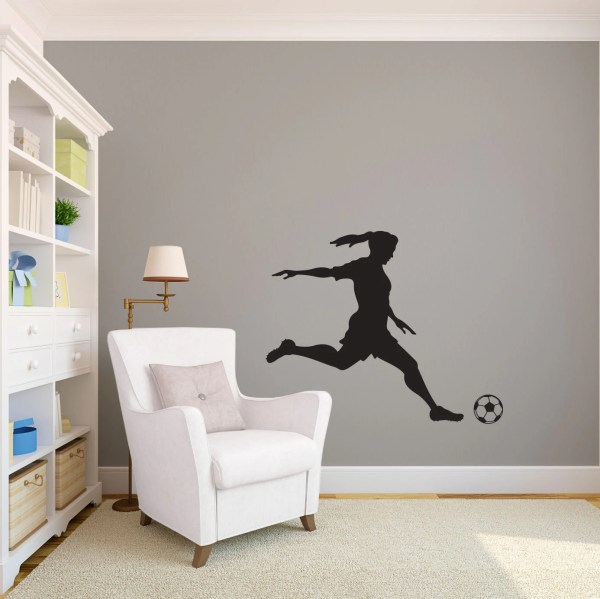 Girl Soccer Player Kicking Silhouette Sports Wall Decal