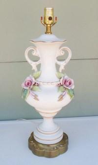 Vintage Shabby Chic Porcelain Rose Table Lamp Lighting Pink