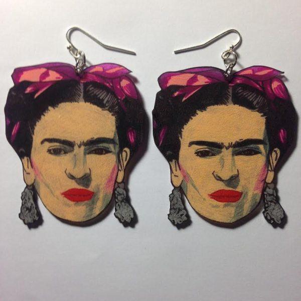 Frida Kahlo Hand Drawn Shrink Plastic Earrings Silla Dilla