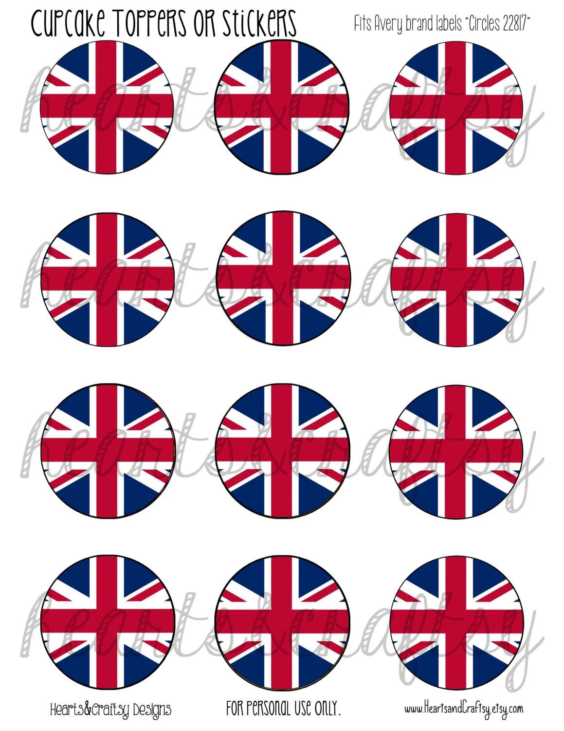 Uk Party British Flag Union Jack Printable Cupcake Toppers Tea