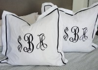 Monogram Euro Pillow Sham with Ribbon Trim / Monogram Bedding