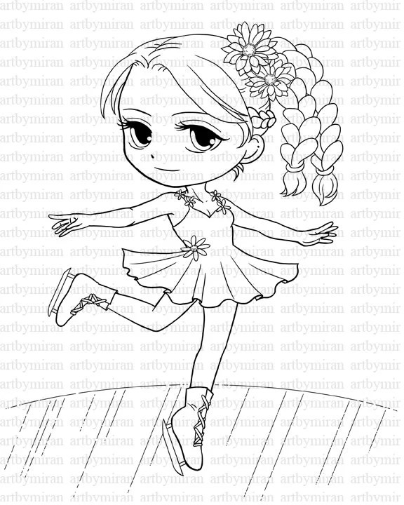Digital Stamp-Skating Girl03 Winter Coloring page Digi
