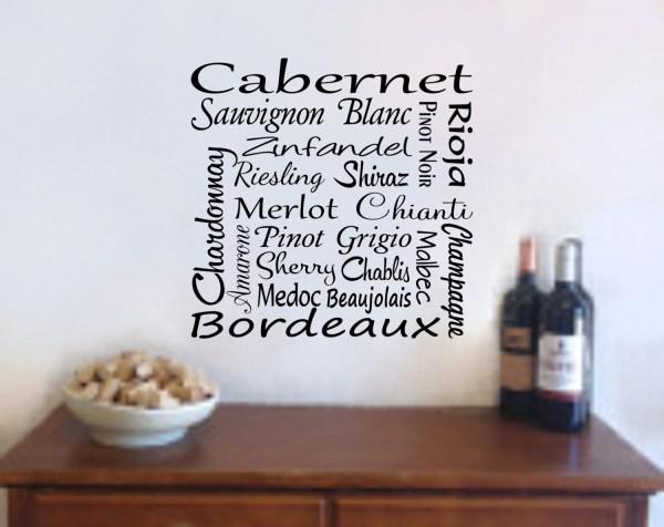 Wine Wall Art Decal Names Bar