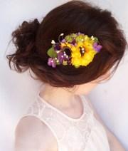sunflower hair clip wedding