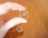 Cut-out Buttons - set of four large natural wood with cut-out design, 23mm, very light, great on knitwear