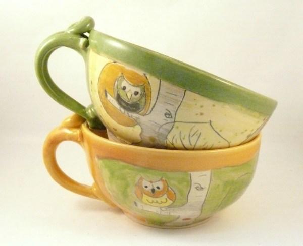 Two Oversized Mug Soup Mugs Large Latte Cups