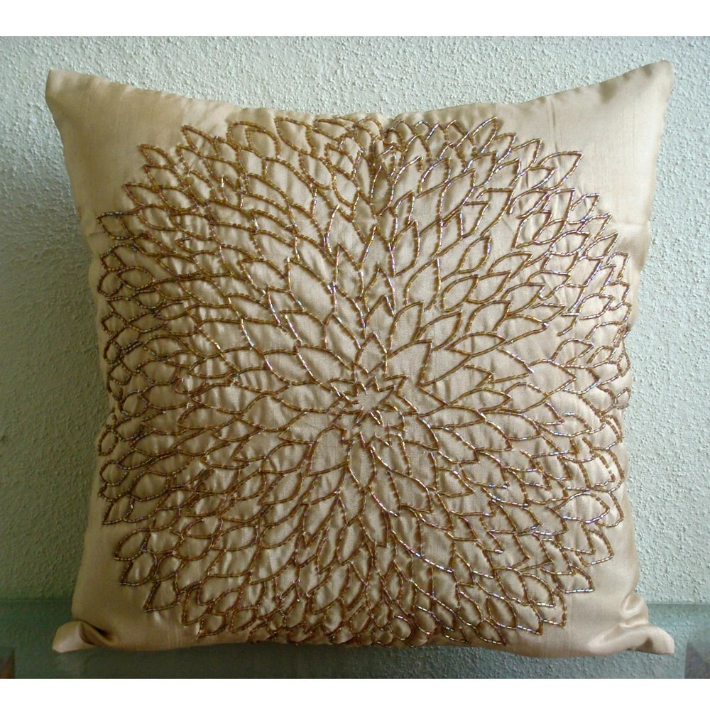Throw Pillow Covers 20x20 Silk Bead Gold Embroidered Pillow