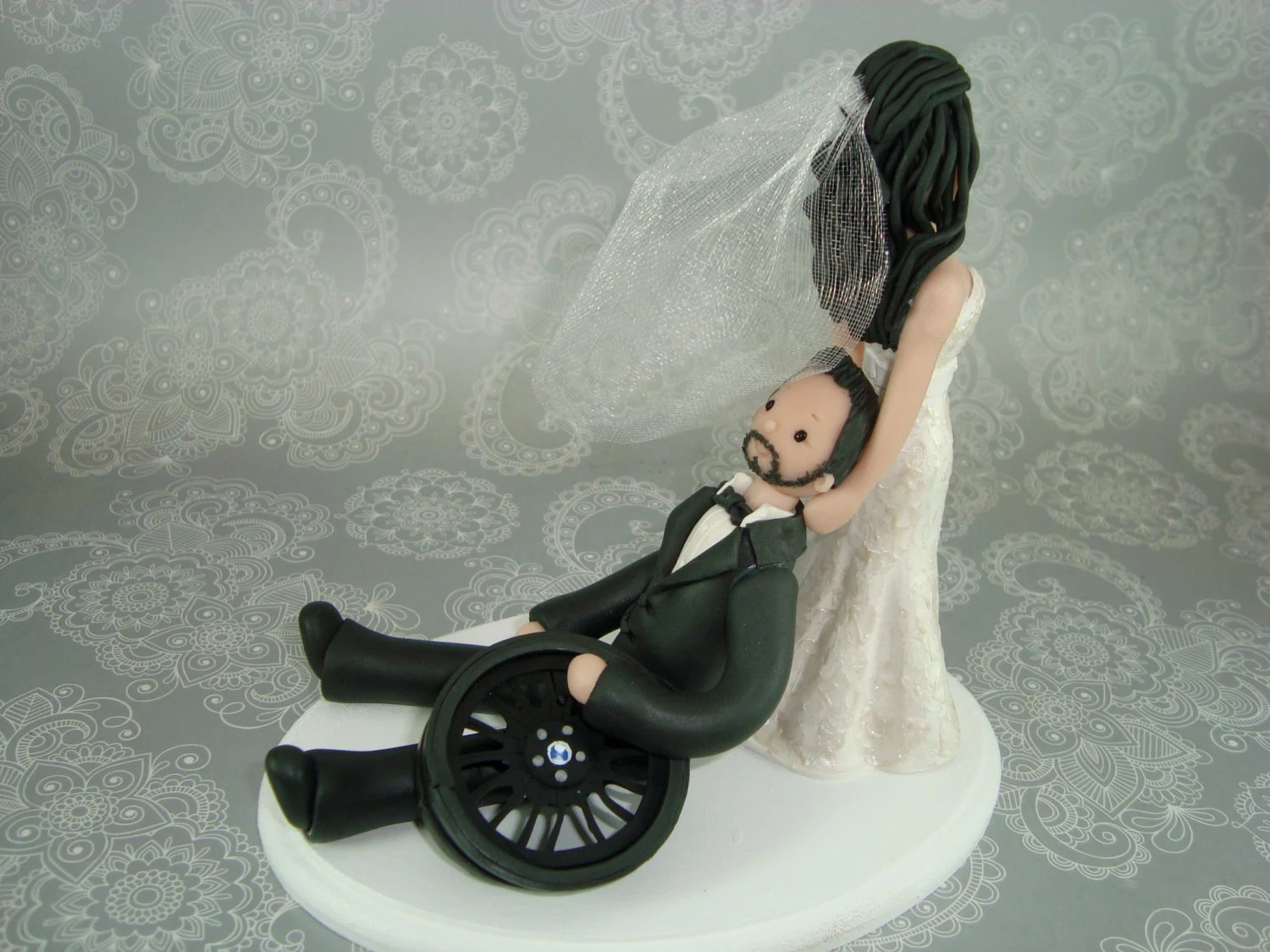 Bride Dragging Groom Customized Wedding Cake Topper