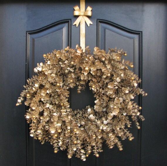 listing gold glitter wreath christmas wreath