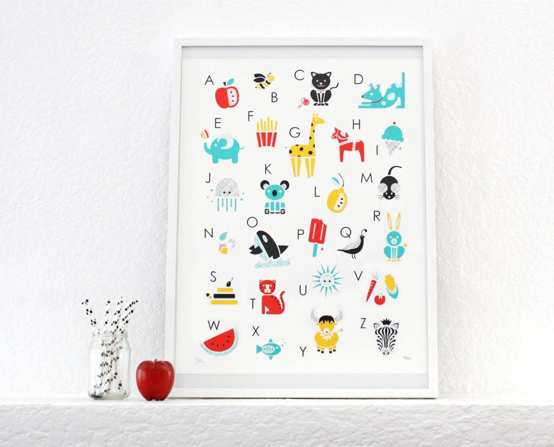 Alfabeto impresa, carteles, serigrafía, arte infantil, sala para niños