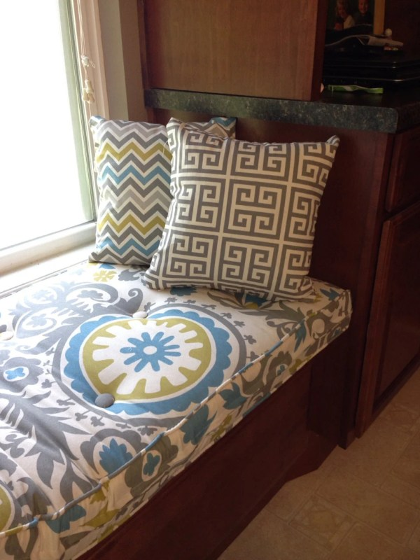 Custom Button Tufted Window Seat Cushion With Cording
