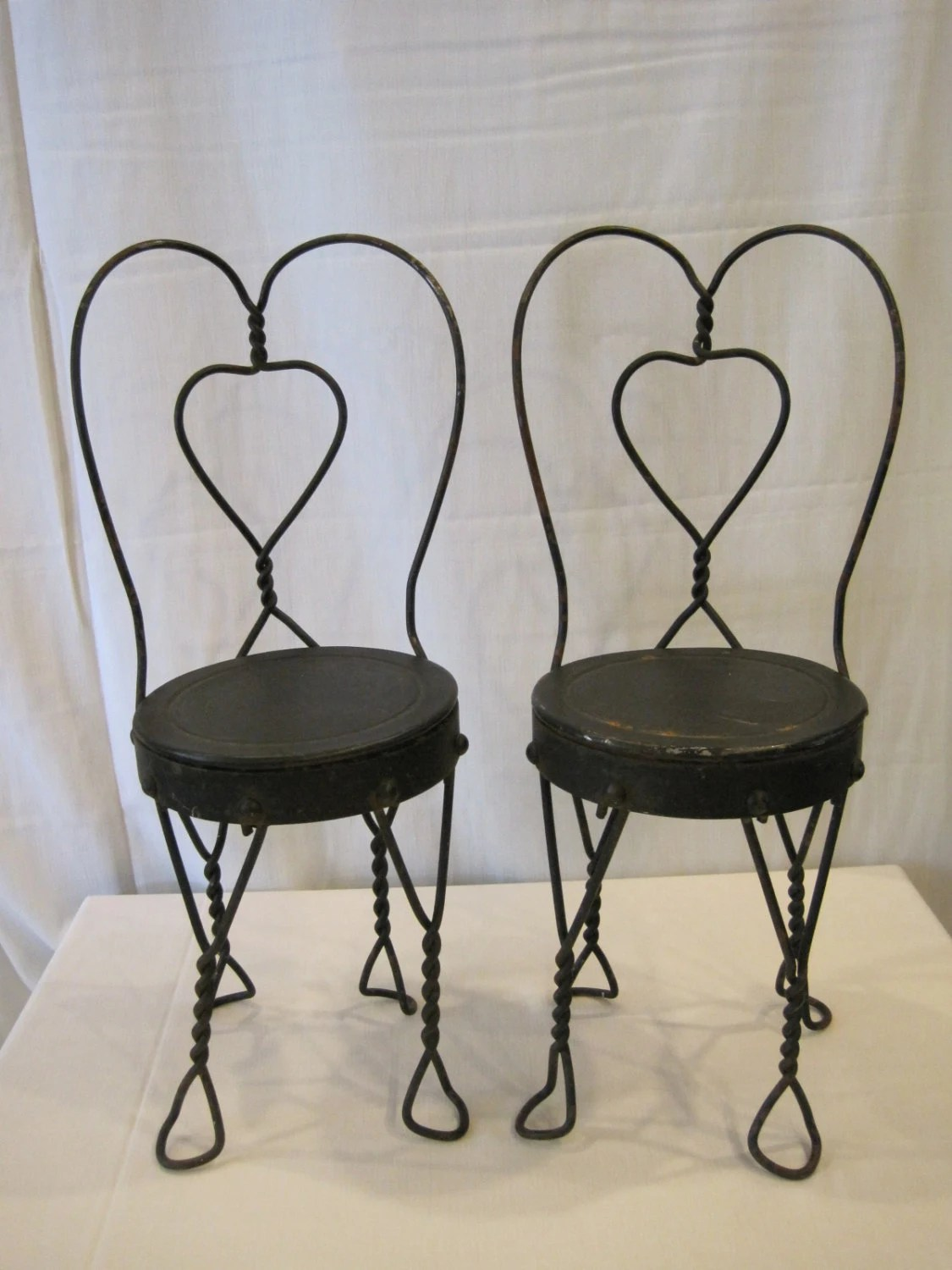 ice cream parlor table and chairs office chair armrest covers india vintage twisted metal pair doll size