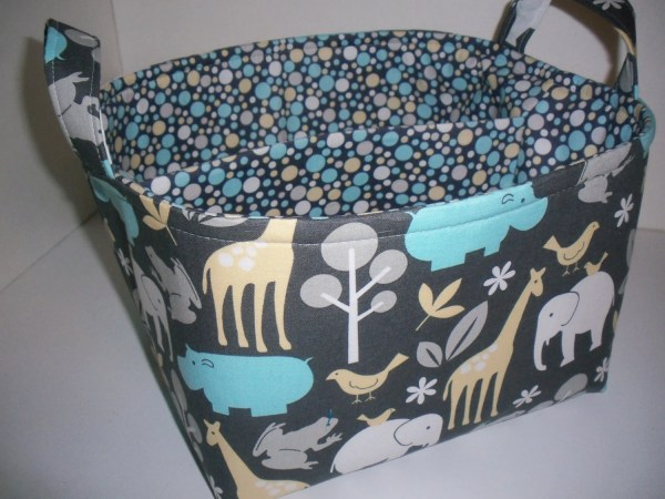 Large Diaper Caddy Organizer Bin Blue Gray Elephant Zoo